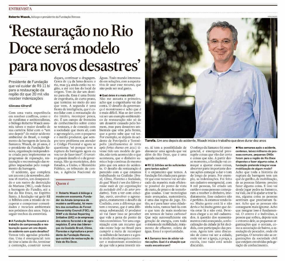 Matéria publicada no dia 24/10/2016, no jornal O Estado de S. Paulo