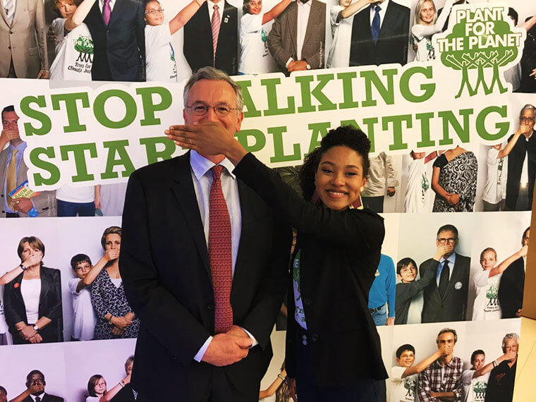 "Narrian and Waack participate in ""Stop talking, start planting"", motto of global calls for involvement of leaders in Plant-for-the-Planet campaigns."