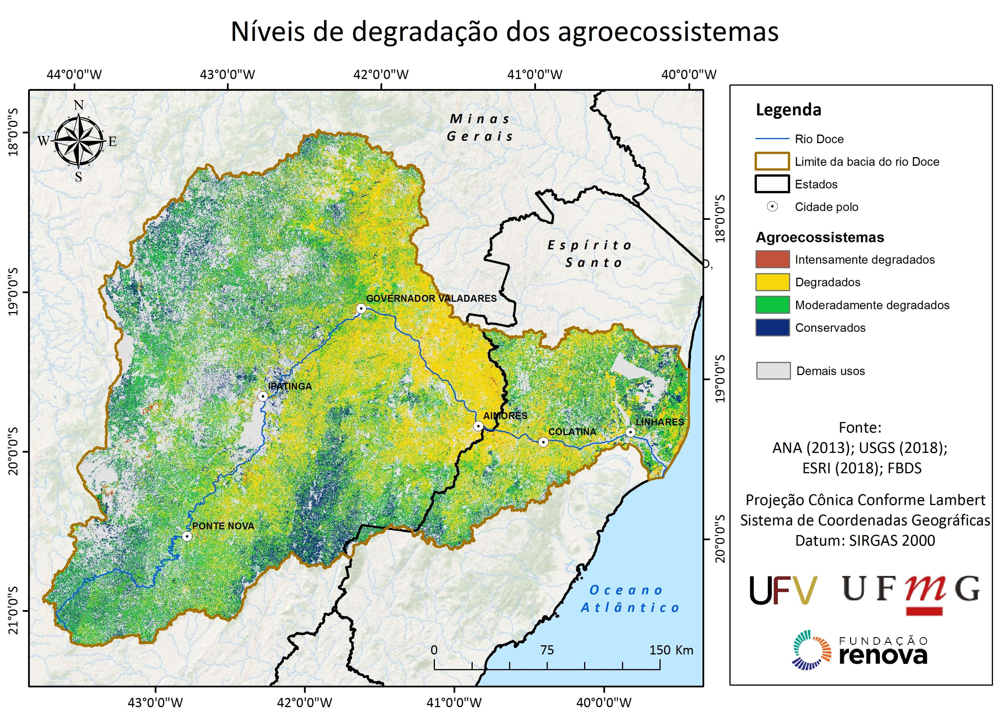 A pesquisa identificou sete fontes principais de degradação ao longo da bacia do rio Doce